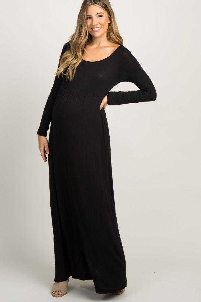 8b803e7b735 Black Lace Sleeve Maternity Maxi Dress in 2019