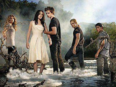 Twilight, Kristen Stewart, ... | TWILIGHT 'S CAST (From left) Rachelle Lefevre (who plays Victoria), Kristen Stewart (Bella), Robert Pattinson (Edward), Cam Gigandet (James), and Taylor Lautner (Jacob)