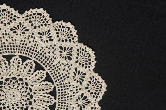 Ecru round crochet doily by NatureAnesthesia on Etsy