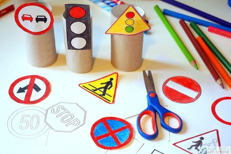 Znaki drogowe do druku i kolorowania
