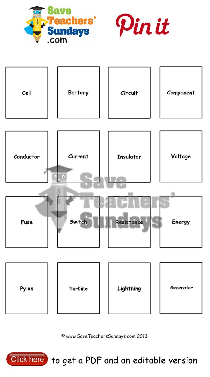 Electricity terminology to learn cards with term and definition. Go to http://www.saveteacherssundays.com/science/year-4/370/lesson-4b-electricity-terminology/ to download this Electricity terminology to learn cards with term and definition. #SaveTeachersSundaysUK