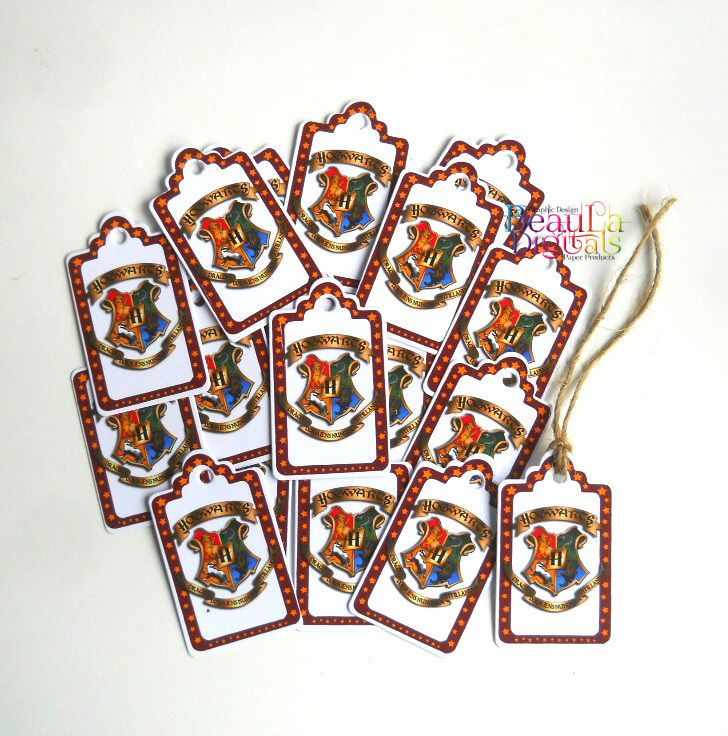 Harry Potter Tags, 25 Swing Tags, Hogwarts Shield tags, Gift or Business Tags