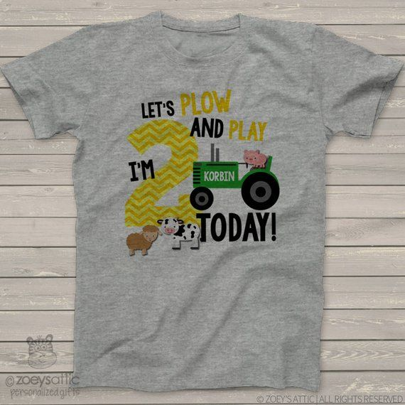 First 1st Birthday Shirt Green Tractor Plow And Play Farm