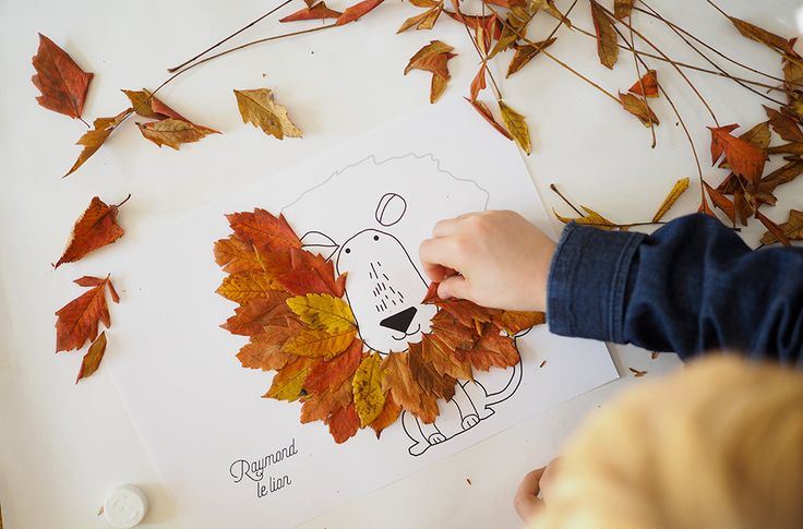 Luna Love | Gather leaves on a walk with the kids, and create cute animals with them! ☽