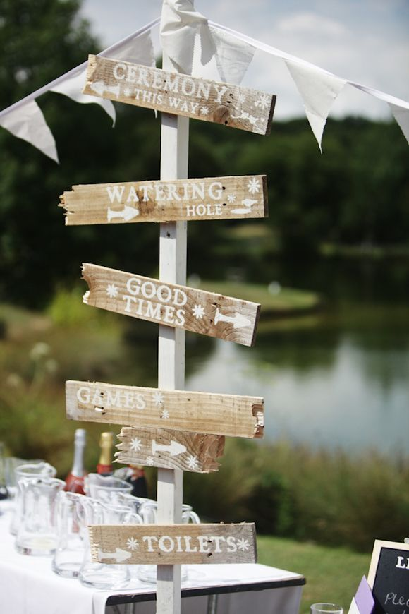 Love these signs! Via http://www.lovemydress.net/blog/2010/10/outdoor-vintage-lakeside-wedding.html