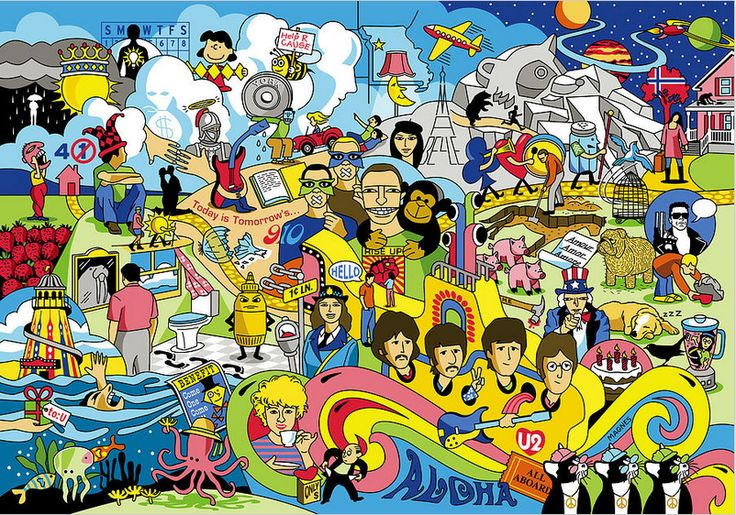 Varietats: 70 illustrated Beatles' song titles by Ron Magnes