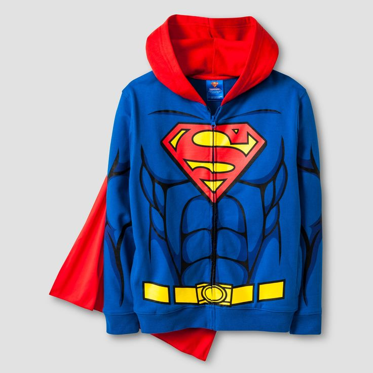 Boys' Superman Costume Hooded Sweatshirt - Blue XL
