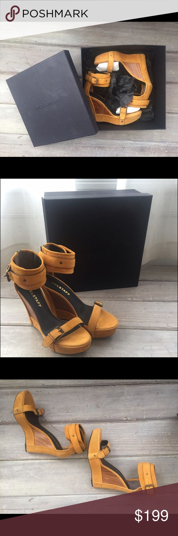 """BELSTAFF platform sandal w/ box Perforated calfskin suede. Adjustable band at open toe and adjustable ankle cuff strap. Wood veneer wedge with faux zipper detail on heel. Knurled antique brass hardware throughout. 5"""" Wedge. 1"""" platform. Made in Italy. Used in once for a photoshoot. Typical light outer rub wear on some contact points. Leather soles are near flawless. Like new! Belstaff Shoes Platforms"""
