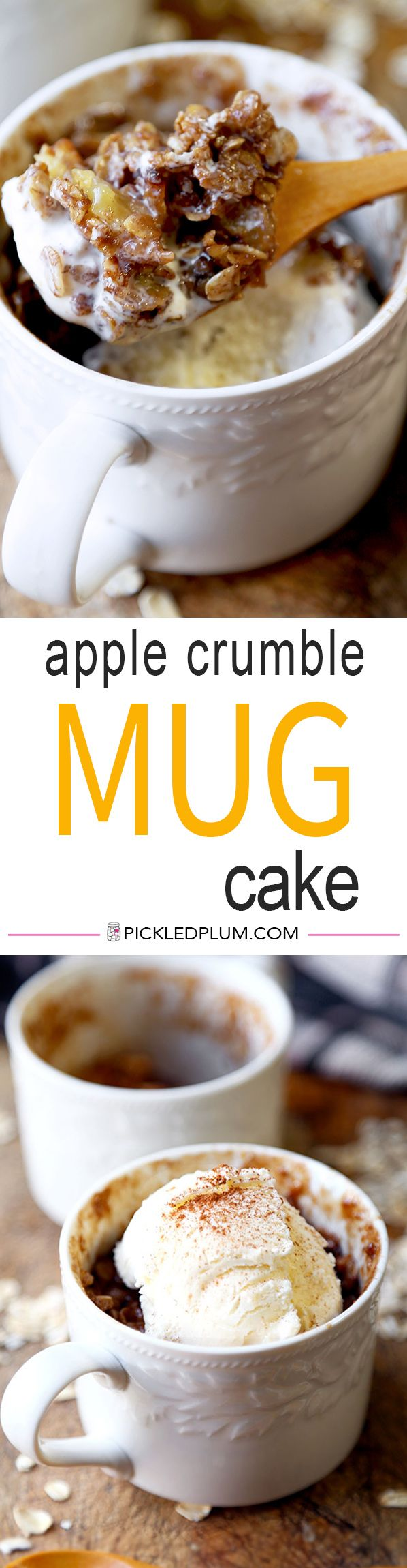 Apple Crumble Mug Cake - A sweet, chewy and fruit loaded Apple Crumble Mug Cake Recipe that tastes divine with a scoop of creamy vanilla ice cream! Ready in 15 minutes or less. Recipe, dessert, snack, apples, mug cake, easy   pickledplum.com
