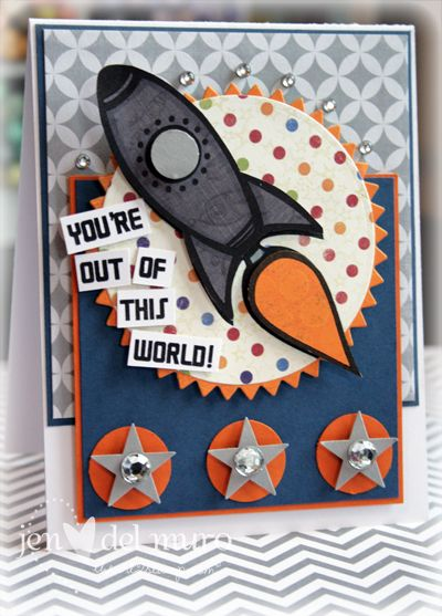 I love the layout and the rhinestone placement on this card.