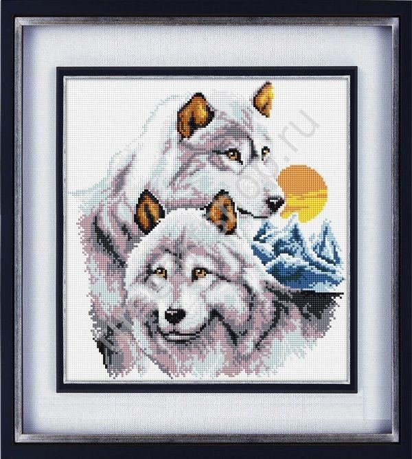 Белые волки, набор для вышивки крестом (печатный крест, схема нанесена на канву) нитки, иглы, бумажный дубликат схемы в наборе