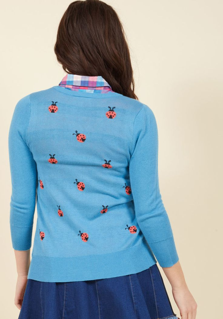 <p>With so many darling details comprising this turquoise cardigan from our ModCloth namesake label, it's impossible to pick a favorite! Ladybug-shaped buttons, cropped sleeves, soft fabric, and a pink ladybug print provide this sweater pair with oodles for you to adore - and for others to applaud.</p>