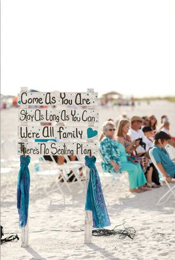ceremony seating sign idea, beach wedding
