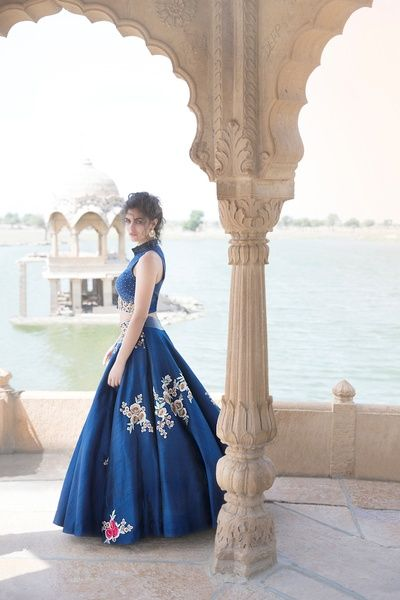 Light Lehengas - Royal Blue Light Lehenga | WedMeGood | Royal Blue Lehenga with Scattered Embroidery with High Neck Crop Top #wedmegood #indianbride #indianlehenga #lehenga #royalblue #embroidery #croptop