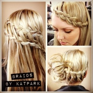 more braids!!!! double waterfall braid, updo with braid, and braid bangs! Love the bun