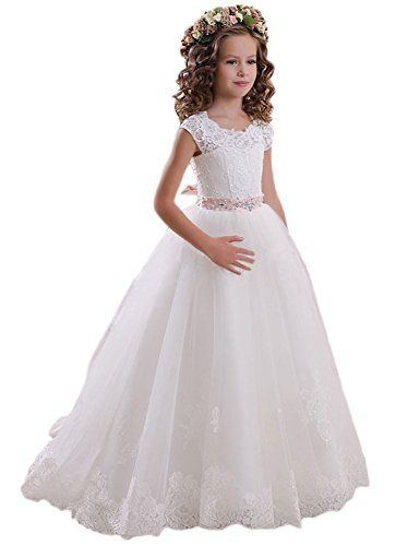 5beb55da04228 Dreamdress Lace Flower Girls Dress Girls First Communion Dress Princess  Wedding FB011