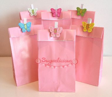 Pink Butterfly Lolly Bags / Favour Bags / Loot Bags - Pack of 12