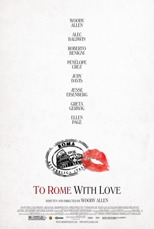 TO ROME WITH LOVE: not my favorite WA film; his character along with his wife were great and I'd like to watch a whole movie with just them; I had a hard time liking anybody else; it's in Rome so it was beautiful, and it's WA so it was funny; what he was trying to do with the stories was interesting but it fell flat for me.