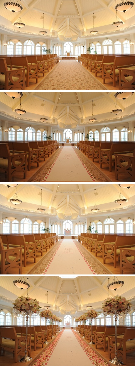 Floral staging at Disney's Wedding Pavilion with pink accents, candelabras and a scalloped aisle runner