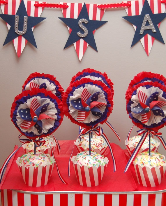 4th of July Cupcake Topper Party Favors Set of 6 Pinwheels