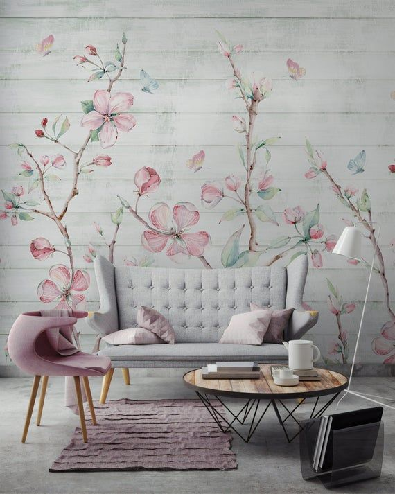 Watercolor Cherry Blossom Peel And Stick Removable Wallpaper Etsy In 2021 Cherry Blossom Wallpaper Removable Wallpaper Wall Murals