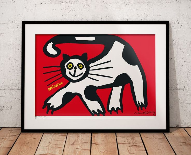 Cat Poster A3 – 42 x 30 cm.  By Cecilia Waxberg Design.  Big cosy, cuddly, always hungry and will probably eat all your flies. A bit clumsy and lazy, maybe not the brightest cat but he is full of love.