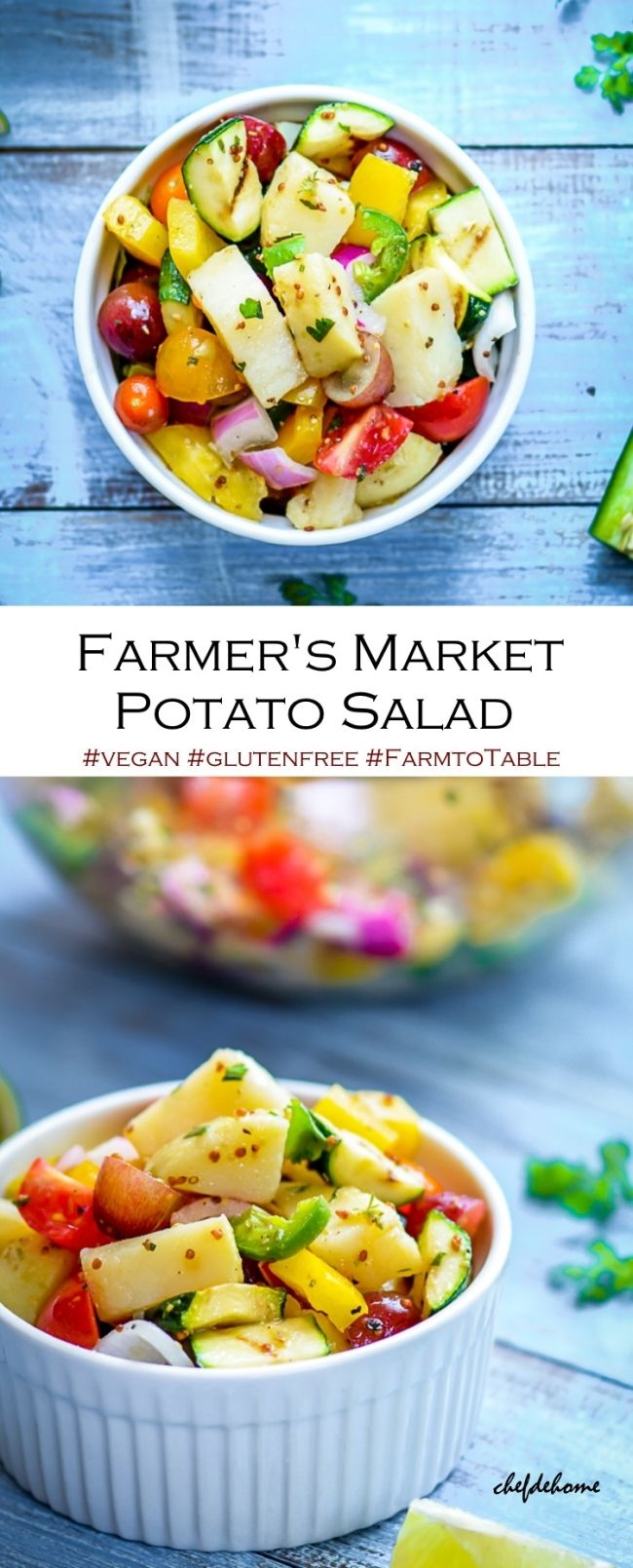 Vegan Potato Salad packed with healthy summer vegetables and lite mustard dressing | chefdehome.com