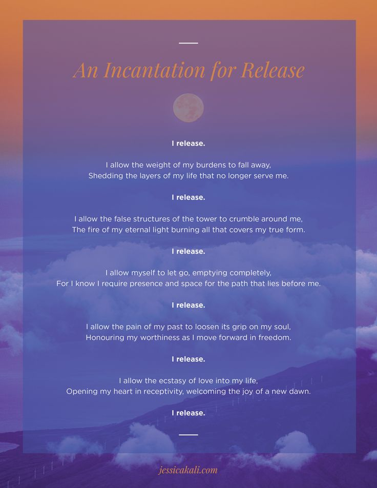 - An Incantation for Release -   Like every full moon, tonight's moon is a beautiful opportunity to release all that is no longer serving us.   Being a super full moon this powerful energy is amplified, making it the perfect time to reflect and acknowledge where in our lives we may need to let go in order to grow.