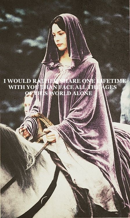I can't get enough of this story.  But I just read the story of Arwen and Aragorn in the appendices of Return of the King and its actually really sad... :(