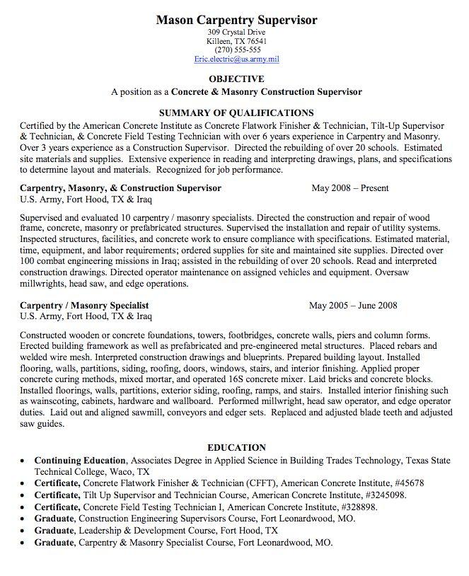 carpentry supervisor sample resume httpexampleresumecvorgcarpentry supervisor - Army Mechanical Engineer Sample Resume