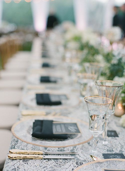 Glamorous Backyard Wedding in Calabasas, California, Lace Table Overlays Handmade by Bride's Mother | Brides.com