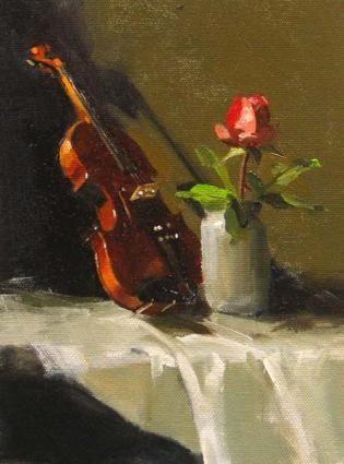 Violin Still Life Painting (Artist Qiang Huang)