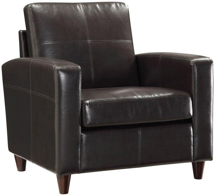 Office Star Black or Espresso Eco Leather Club Chair w/ Espresso Finish (OS-SL2811)