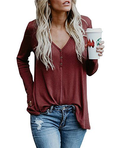 14c5bfee4d52fe Beautife Womens Sweaters Fall V Neck Button Long Sleeve Loose Casual Knit  Pullover TopsBrand  BeautifeSleeve  Long SleeveCollar  Deep v neckStyle   Sweater ...