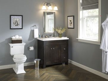 Herringbone Wood Tile Traditional Bath With An Elegant Vanity Traditional Bathroom Other Metro Lowe S Home Improvement