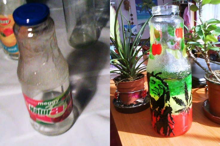 juice bottle with Bob Marley