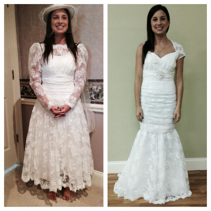 Old Wedding Dress Ideas: Front View Of Old Dress And Front Of New Dress At First