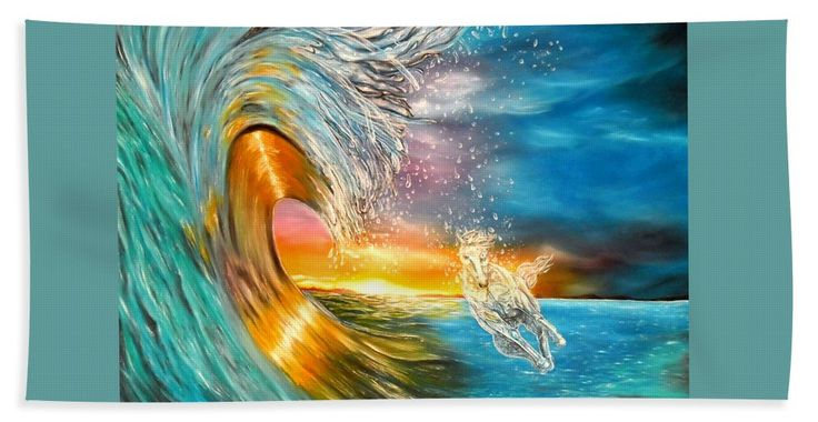 Hand Towel,  home,accessories,bathroom,unique,fancy,cool,trendy,artistic,beautiful,awesome,modern,fashionable,for,sale,decor,unusual,design,items,products,ideas,blue,colorful,waves,horse,sunset,ocean