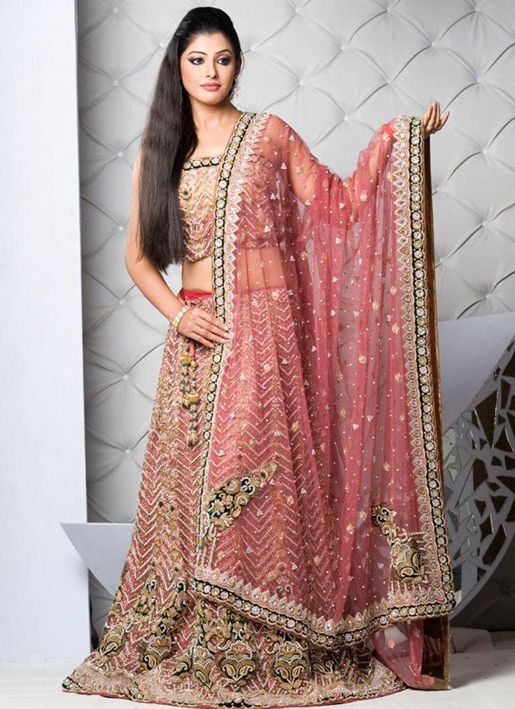 The Latest Designs for Bridal Lehenga Choli Design: Pink Fishtail Bridal Lehenga Choli Design