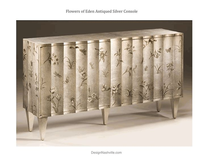 handpainted fluted cabinet with floral design antiqued silver finish fluted front and four doors w