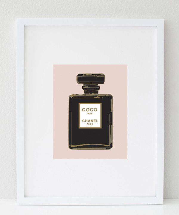 Glam Prints | Office Decor CHANEL NOIR PERFUME BOTTLE (black & blush)