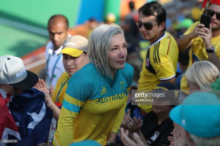 Caroline Buchanan of Australia reacts after crashing out during the Women's Semi Finals during day 14 at Olympic BMX Centre on August 19, 2016 in Rio de Janeiro, Brazil.