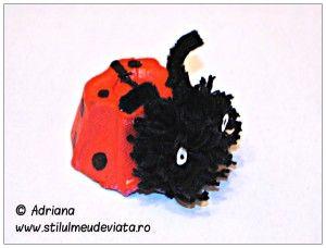 buburuza din cofraj de oua - craft pentru copii/ ladybug from egg carton - egg carton craft ideas for kids