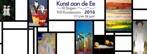 Kunst aan de Ee: 10 dagen, 100 kunstenaars, 1.000 kunstwerken. Unieke expositie van schilderijen, keramiek, glas, brons, hout, textiel, steen, foto's en sieraden. 3.700 m2 professionele kunst in het meest gastvrije dorp van Friesland. Een megamanifestatie die Woudsend tien dagen omtovert in een kunstdorp. Datum: vrijdag 17 juni t/m zondag 26 juni 2016 Plaats: Iewal 16, Woudsend