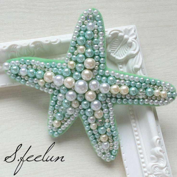 マーメイドバレッタ accesary アリエル mermaid hairaccesary disney littlemermaid ヒトデ starfish 刺繍 creema hairarange
