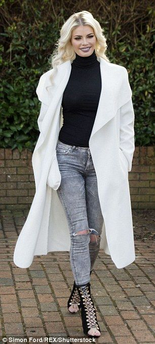 Turned out: TOWIE stars Georgia Kousoulou, left, and Chloe Sims dazzled in contrasting bla...