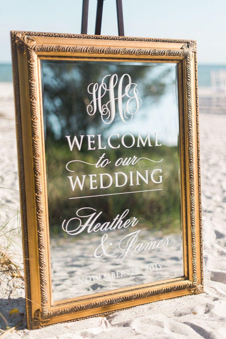 Heather and James Mirrored Wedding Welcome Sign - Black & White Beach Wedding Monogram -Casa Ybel Resort, Sanibel, Florida  Dana Marino Design - www.danamarinodesign.com  Austin Trenholm Photography Fabulously Chic Weddings