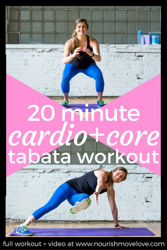 An effective 20 minute bodyweight Tabata workout mixes HIIT cardio intervals with strength and core training. It's all bodyweight, making it to the perfect traveling workout. Interval training with short recovery periods, circuits include squat jumps, air squats, push ups, split jumps, planks, knee taps. 20 minute cardio + core at home workout. Fit mom, fit pregnancy, fit life, fit girl.