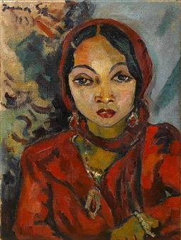 Cape Malay woman in red By Irma Stern ,1933 South Africa