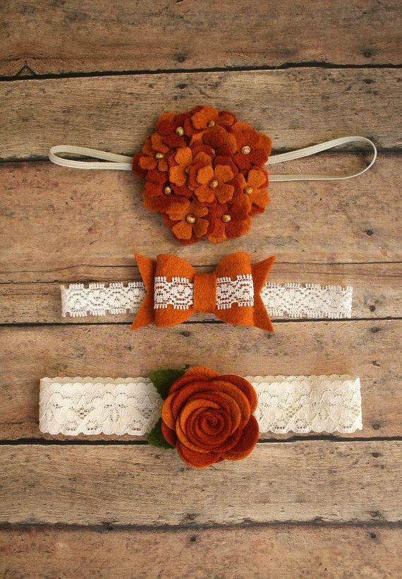 Fall Harvest Headband Set - Baby Girl - Newborn - Photo Prop - Lace - Vintage - Pumpkin Spice - wool felt bow - wool felt flower hairbow